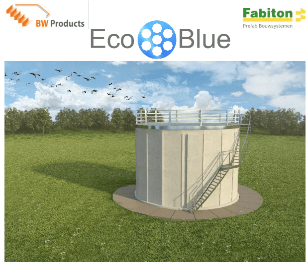 Brightwork and Fabiton developed the EcoBlue filter. The artist impresson above shows this compact and modular continuous sand filtration system for (waste)water treatment and water reuse.